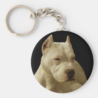 Vitpitbullkeychain Rund Nyckelring