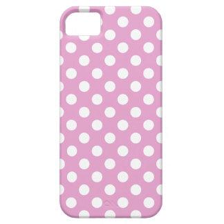 Vitpolka dots på bleken - rosa iPhone 5 skydd