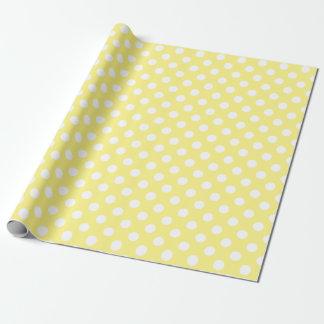 Vitpolka dots på citronen - gult presentpapper
