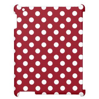 Vitpolka dots på Crimson rött iPad Skal