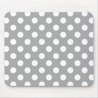 Vitpolka dots på grå färg musmatta