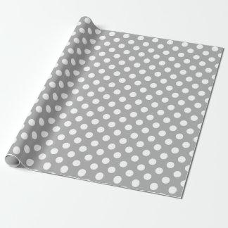 Vitpolka dots på grå färg presentpapper