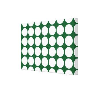 Vitpolka dots på grönt canvastryck