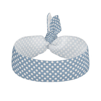 Vitpolka dots på klassikerblått hårband