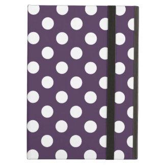 Vitpolka dots på plommonlilor iPad air fodral