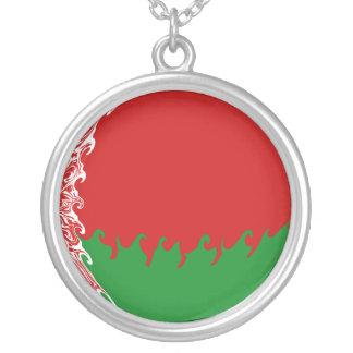 Vitryssland Gnarly flagga Halsband Med Rund Hängsmycke