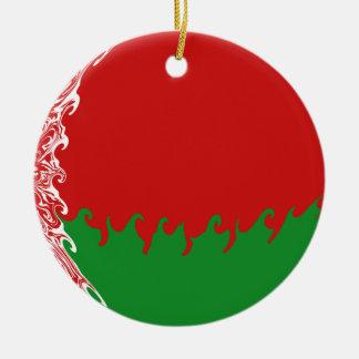 Vitryssland Gnarly flagga Rund Julgransprydnad I Keramik