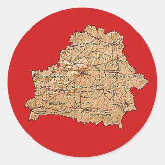 Vitryssland kartaklistermärke runt klistermärke