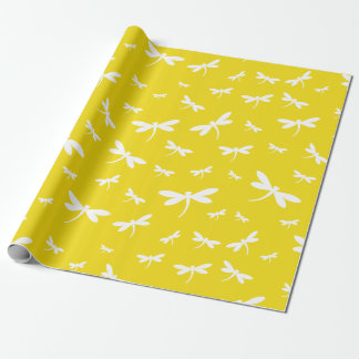 Vitsländamönster på gul bakgrund presentpapper