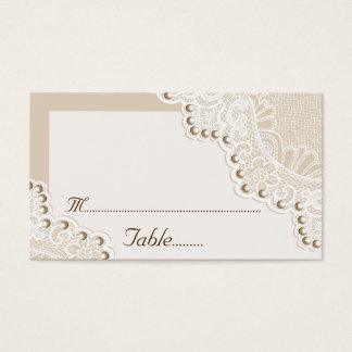Vitsnöre med pärlor som gifta sig ställekortet visitkort