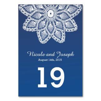 Vitsnöre - nautisk blått som gifta sig bordsnumret bordsnummer