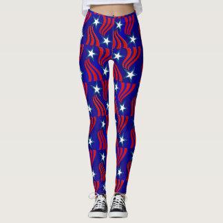 Vitstjärnor, röda randar och blåttbakgrundsbyxor leggings