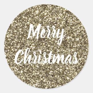 Vittext på guld- jul för glitterLookelegant Runt Klistermärke