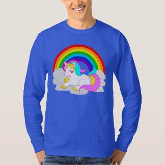 VitUnicorn på molnregnbågemanar långärmad T Shirt