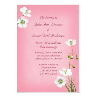 Vitvildblommar på rosa bröllop 12,7 x 17,8 cm inbjudningskort