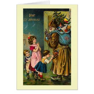 """""""Vive för vintagefransk för St. Nicolas"""" julkort Hälsningskort"""