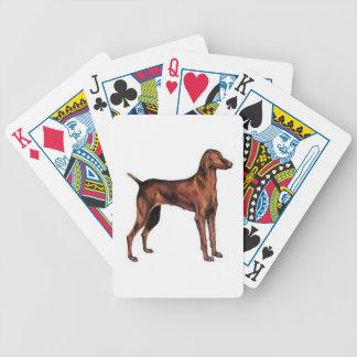 Vizsla hund som leker kort spelkort