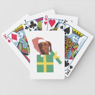 Vizsla hundSanta hatt som leker kort Spelkort
