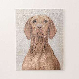 Vizsla målning - gullig original- hundkonst pussel