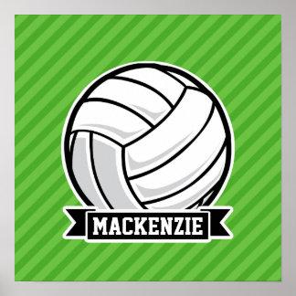 Volleyboll på gröna randar affisch