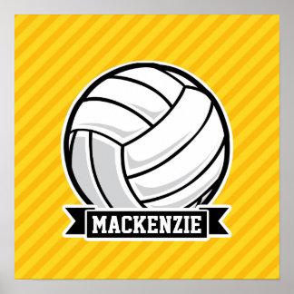 Volleyboll på gula randar posters