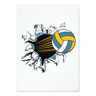 volleyboll som river sönder till och med blått och 12,7 x 17,8 cm inbjudningskort