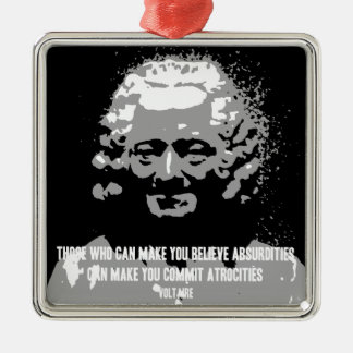Voltaire - absurditet julgransprydnad metall