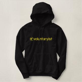 Voluntaryist broderade hoodien broderad luvtröja