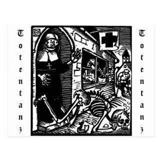 Vom Totentanz nunna- och skelettvykort Vykort