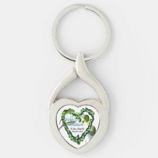 Vriden hjärtaShapemetall Keychain, NMO-krigare Twisted Heart Silverfärgad Nyckelring