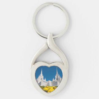 Vridet hjärtametallKeychain San Diego tempel Twisted Heart Silverfärgad Nyckelring
