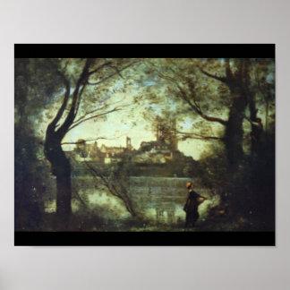 Vue de Mantes', Jean-Baptiste Camille_Landscapes Poster