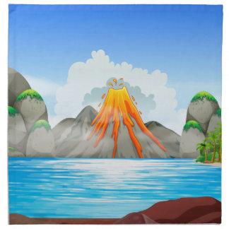 Vulkanutbrott på sjön tygservett