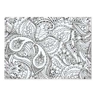 Vuxen färgläggning: Mönstrat kort för fjäril 12,7 X 17,8 Cm Inbjudningskort