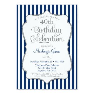 Vuxen för silver för födelsedaginbjudan marinblå 12,7 x 17,8 cm inbjudningskort