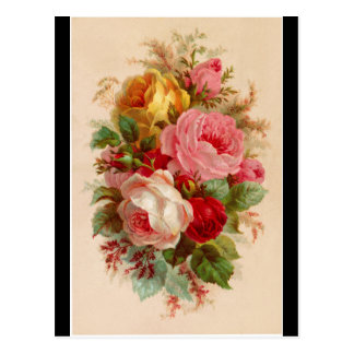 Vykort - bukett med rosor