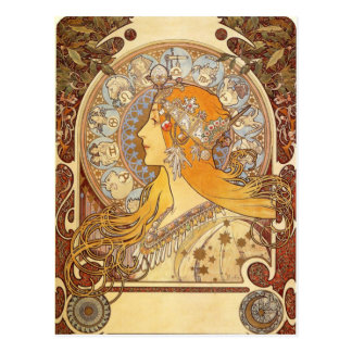 Vykort för art nouveauAlphonse Mucha Zodiac