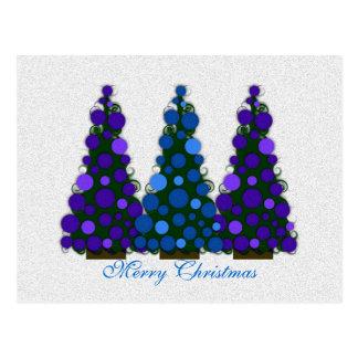 Vykort för blått- och lilagod julträd