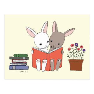 Vykort för bok för kaninkanin läs- gullig kaninbok
