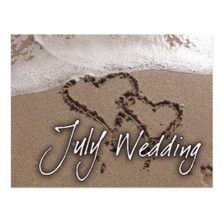 Vykort för bröllop för Juli stranddestination