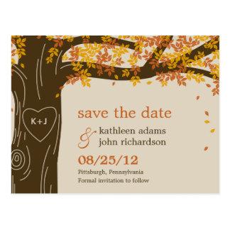 Vykort för bröllop spara datum för nedgång för