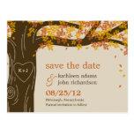 Vykort för bröllop spara datum för nedgång för Oak