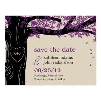 Vykort för bröllop spara datum för Oakträd