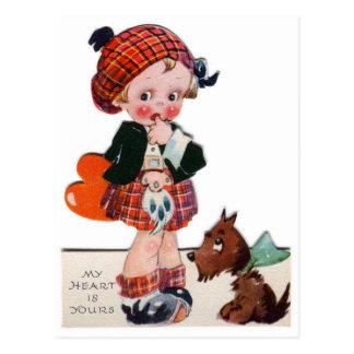 Vykort för flicka för Retro vintagevalentin skotsk
