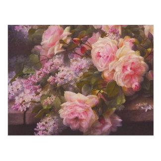 Vykort för för vintageVictorianrosa ros och lilor