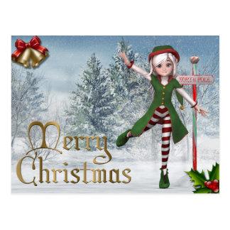 Vykort för god julSadie älva