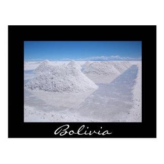 Vykort för gräns för Salar de Uyuni salt högsvart