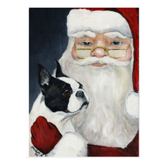 Vykort för jul för konst för Boston terrier-/Santa