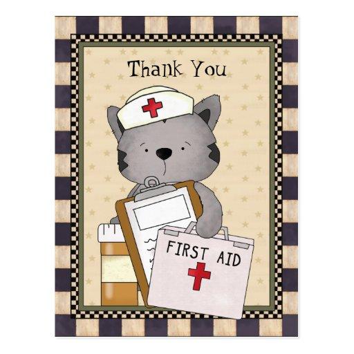 Vykort för kattsjuksköterskatack