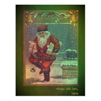 Vykort för klassikervintagejul med Santa